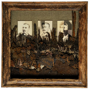 Category - Green mixed media and photo montages of people from found objects